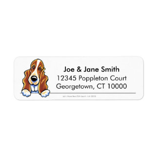 Red White Basset Hound Clean & Simple Label