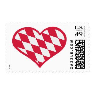 Red white bavarian heart postage