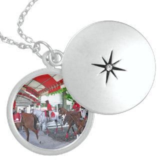 RED- WHITE & BAY LOCKET NECKLACE