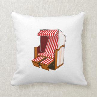 Red & White Beach Chair Theme Throw Pillow