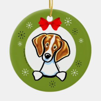 Red White Beagle Christmas Classic Ceramic Ornament