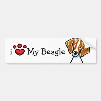 Red/White Beagle Face Off-Leash Art™ Bumper Sticker