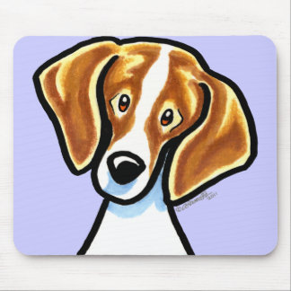 Red/White Beagle Face Off-Leash Art™ Mouse Pad