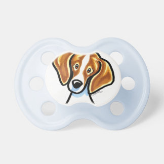Red/White Beagle Face Off-Leash Art™ Baby Pacifier