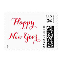 Red White Beautiful Elegant Script Happy New Year Postage