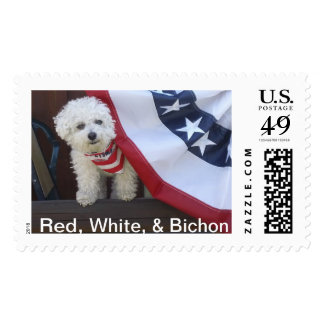 Red, White, & Bichon :  Patriotic PAWS Stamps