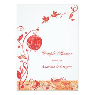 Red + White Bird Cage Birds Wedding Couples Shower Card