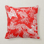 Red & White Birds and Leaves Pillow