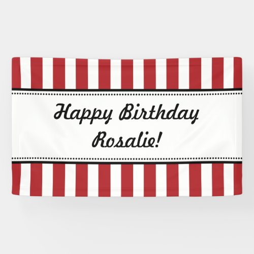 Red White Birthday Banner Stripes