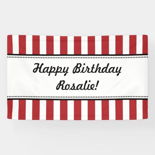 Red White Birthday Banner Stripes