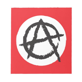 Red, White & Black Anarchy Flag Sign Symbol Note Pad