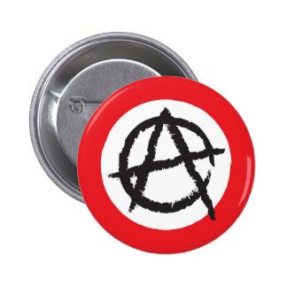 Red, White & Black Anarchy Flag Sign Symbol Pinback Button
