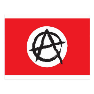 Red, White & Black Anarchy Flag Sign Symbol Postcard