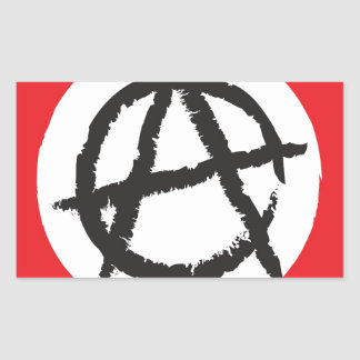 Red, White & Black Anarchy Flag Sign Symbol Rectangular Sticker