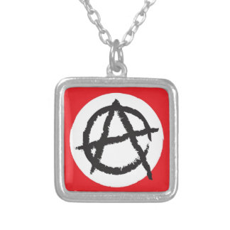Red, White & Black Anarchy Flag Sign Symbol Square Pendant Necklace
