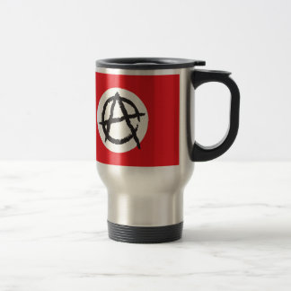 Red, White & Black Anarchy Flag Sign Symbol Travel Mug