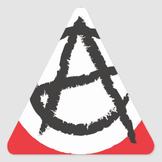 Red, White & Black Anarchy Flag Sign Symbol Triangle Sticker