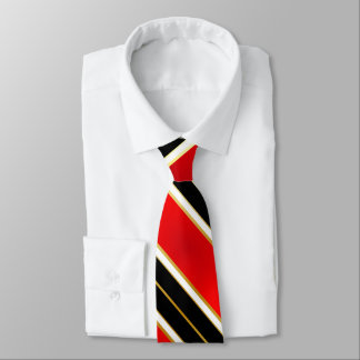 Red White Black and Gold Stripes2 Tie