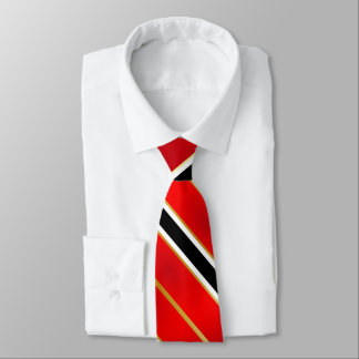 Red White Black and Gold Stripes Tie