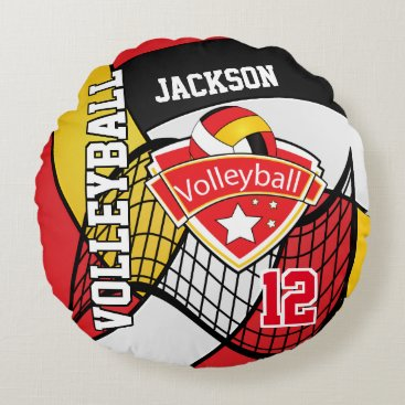 USA Themed Red, White, Black and Yellow Volleyball | DIY Name Round Pillow