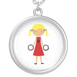 Red White Black Cheerleader Necklace Blonde Hair