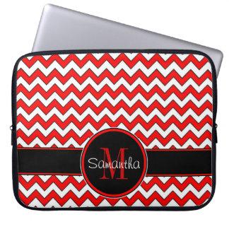 Red White & Black Chevron Pattern Custom Monogram Computer Sleeve