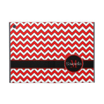 Red White & Black Chevron Pattern Custom Monogram Cover For iPad Mini