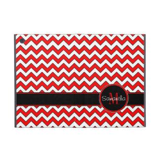 Red White & Black Chevron Pattern Custom Monogram iPad Mini Covers