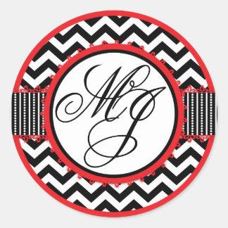 Red, White, & Black Chevron Print Monogram Classic Round Sticker