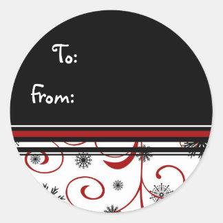 Red White Black Christmas Snowflake Gift Tags Round Sticker