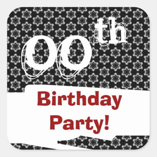 Red White Black Custom Year Birthday Party W1972 Square Sticker