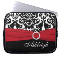 Red, White, Black Damask FAUX Ribbon Laptop Sleeve at Zazzle