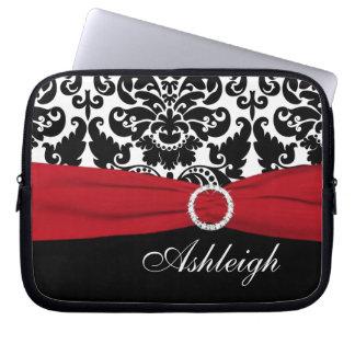 Red White Black Damask FAUX Ribbon Laptop Sleeve