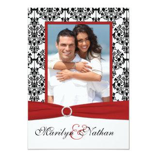 "Red, White, & Black Damask II Photo Wedding Invite 5"" X 7"" Invitation Card"