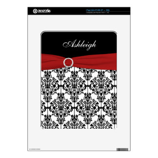 Red White Black Damask iPad 1 Skin Decals For The iPad