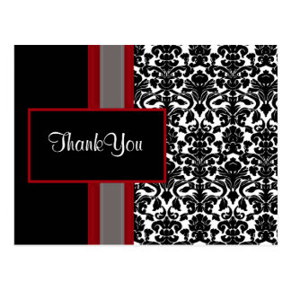 Red White Black Damask Wedding Invitations