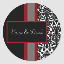 Red White Black Damask Wedding Invitations Classic Round Sticker