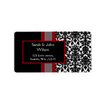 Red White Black Damask Wedding Invitations Label