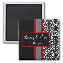Red White Black Damask Wedding Invitations Magnet