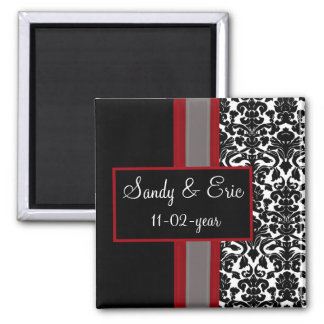 Red White Black Damask Wedding Invitations Magnet
