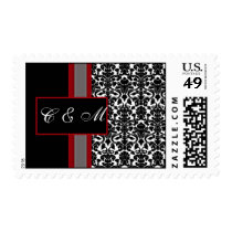 Red White Black Damask Wedding Invitations Postage