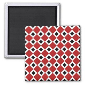 Red, White, Black Diamond Pattern 2 Inch Square Magnet
