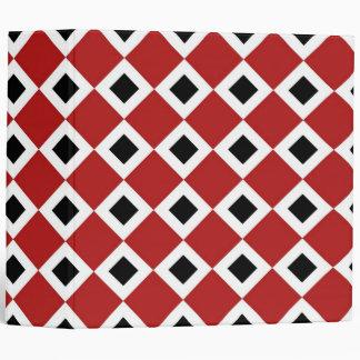 Red, White, Black Diamond Pattern 3 Ring Binders