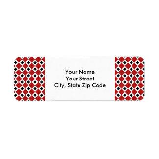 Red, White, Black Diamond Pattern address label