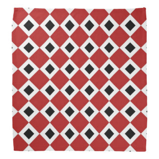 Red, White, Black Diamond Pattern Bandana