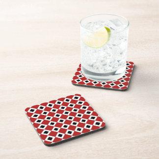 Red, White, Black Diamond Pattern Beverage Coaster