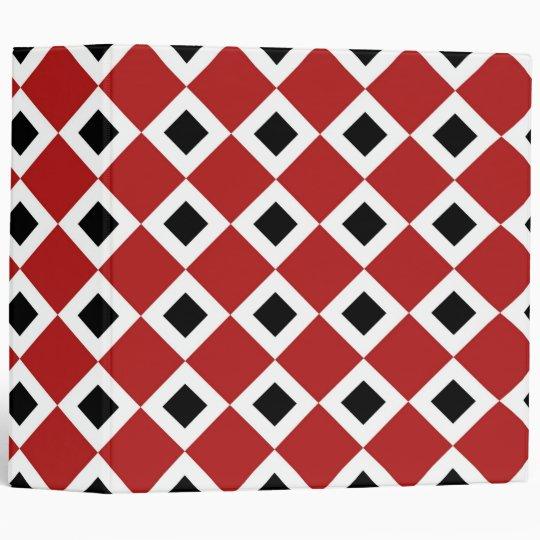 Red, White, Black Diamond Pattern Binder