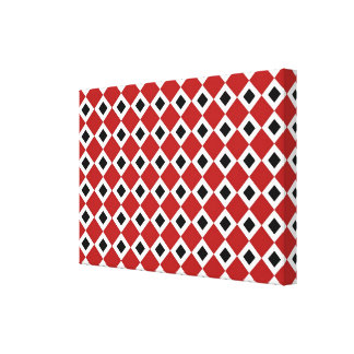 Red, White, Black Diamond Pattern Gallery Wrapped Canvas