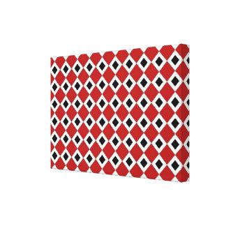Red, White, Black Diamond Pattern Canvas Print