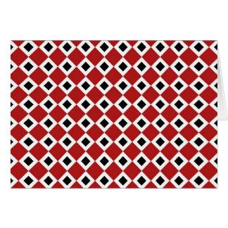 Red, White, Black Diamond Pattern Card